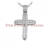 14K Gold Round Diamond cross necklace 2.14ct