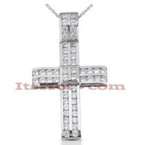 14K Gold Round Diamond cross necklace 2.60ct