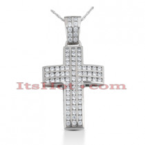 14K Gold Round Diamond cross necklace 3.28ct