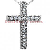 14K Gold Round Diamond Cross Pendant 0.16ct