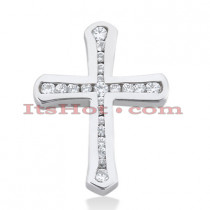 14K Gold Round Diamond Cross Pendant 0.30ct