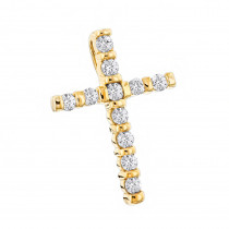 14K Gold Round Diamond Cross Pendant 0.33ct