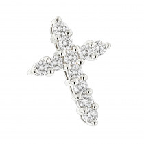 14K Gold Round Diamond Cross Pendant 0.55ct