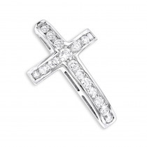 14K Gold Round Diamond Cross Pendant by Luxurman 0.59ct