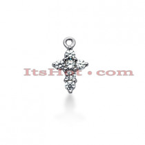 14K Gold Round Diamond Cross Pendant 0.60ct
