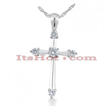 14K Gold Round Diamond Cross Pendant 0.73ct
