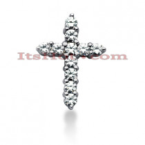 14K Gold Round Diamond Cross Pendant 0.77ct