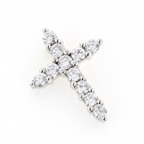 Small 14K Gold Round Diamond Cross Pendant for Women 1 carat