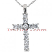 14K Gold Round Diamond Cross Pendant 1.32ct