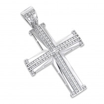 14K Gold Round Diamond Cross Pendant 1.55ct