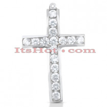 14K Gold Round Diamond Cross Pendant 1.60ct