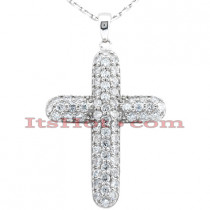 14K Gold Round Diamond Cross Pendant 1.80ct