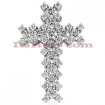 14K Gold Round Diamond Cross Pendant 1.83ct