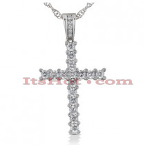 14K Gold Round Diamond Cross Pendant 2.62ct