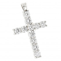 14K Gold Round Diamond Cross Pendant 4.40ct
