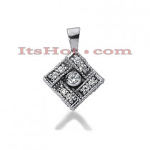 14K Gold Round Diamond Cushion Pendant 0.20ct
