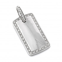 14K Gold Round Diamond Dog Tag Pendant 0.8 ct