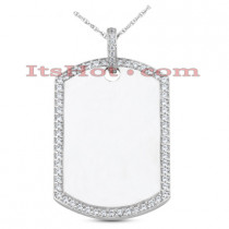 14K Gold Round Diamond Dog Tag Pendant 1.55ct