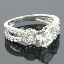 14K Gold Round Diamond Engagement Ring Setting 1.07ct