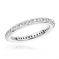Thin 14K Gold Round Diamond Eternity Band 0.46ct