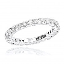 Thin 14K Gold Round Diamond Eternity Band 1.35ct