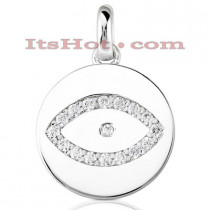 14K Gold Round Diamond Eye Pendant 0.34ct