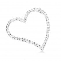 14k Gold 1 Carat Round Diamond Floating Heart Pendant by Luxurman