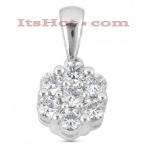 14K Gold Round Diamond Flower Pendant 0.25ct