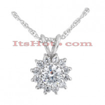 14K Gold Round Diamond Flower Pendant 0.48ct