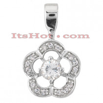 14K Gold Round Diamond Flower Pendant 0.50ct