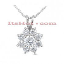 14K Gold Round Diamond Flower Pendant 0.65ct