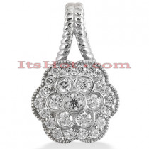 14K Gold Round Diamond Flower Pendant 0.67ct