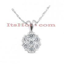 14K Gold Round Diamond Flower Pendant 0.70ct
