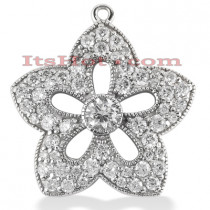 14K Gold Round Diamond Flower Pendant 0.83ct