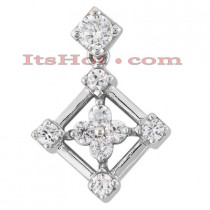 14K Gold Round Diamond Flower Pendant 0.86ct