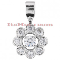 14K Gold Round Diamond Flower Pendant 0.91ct