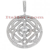 14K Gold Round Diamond Geometrical Pendant 0.96ct