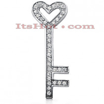 14K Gold Round Diamond Heart Key Pendant 0.54ct
