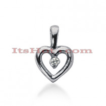 14k Gold Round Diamond Heart Necklace 0.10ct