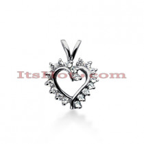 14k Gold Round Diamond Heart Necklace 0.36ct