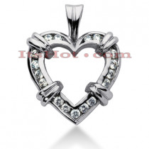 14k Gold Round Diamond Heart Necklace 0.68ct