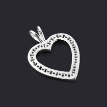 14k Gold Round Diamond Heart Necklace 0.72ct