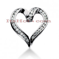 14k Gold Round Diamond Heart Necklace 1.09ct