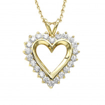 14k Gold Round Diamond Heart Necklace 1.76ct