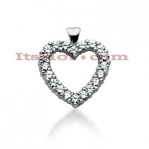 14k Gold Round Diamond Heart Necklace 2.40ct