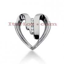 14k Gold Round Diamond Heart Pendant 0.10ct