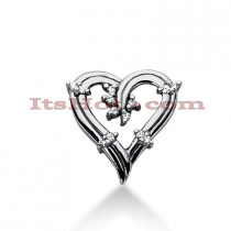 14k Gold Round Diamond Heart Pendant 0.13ct