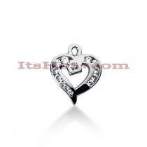 14k Gold Round Diamond Heart Pendant 0.26ct