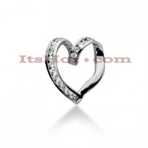 14k Gold Round Diamond Heart Pendant 0.27ct