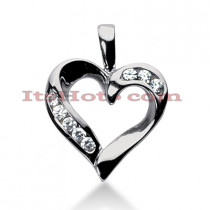 14k Gold Round Diamond Heart Pendant 0.40ct